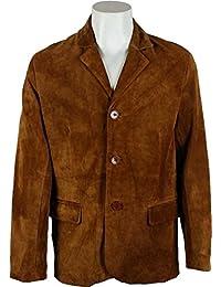 UNICORN Hommes Classique Costume Blazer Veste - Réal Cuir Veste - tanné #4V