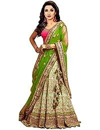 Drashti villa Women's Embroidered Semi Stitched lehenga choli With Blouse Piece (Free Size) (Green)