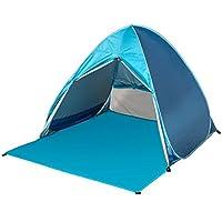 YANGYANJING Exterieure 2–3 personnes rapide Tente pop-up automatique léger étanche Portable Cabana Beach Abri Soleil Pare-soleil avec fermeture à glissière Porte Rideaux et pliable pour le camping la pêche(50+ FPU)