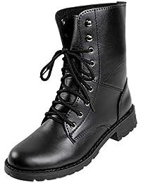 Yudesun Cordones Estilo Militar Combate Botines - Mujer Tacon Bajo Encaje Retro Punk Zapatos Trabajo Ejército