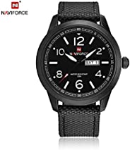 Naviforce Men's Black Dial Genuine Leather Analogue Classic Watch - NF9101-