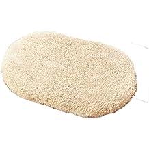 Rollsnownow Hôtel bain douche mat beige coton matériel ovale doux et sûr et durable facile à nettoyer sans saveur 80 * 50cm pad de pédale absorbante WC salle de bain tapis de douche tapis de porte accessoires de salle de bains
