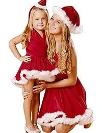 Señoras Niñas Niño Navidad Color Sólido Sin Vendaje Mangas Vestido Especial Estilo De Navidad Vestidos De