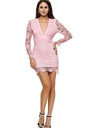 1e1ea23b53f6 YYD  Sexy Deep V Backless Lace Floral Robe De Cocktail pour Les Femmes