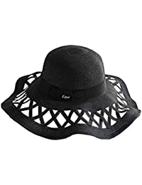 Sunny Honey Sombrero De Paja De Mujer Hollow Big Brim Hat Al Aire Libre  Ocasional Plegable b8046d87921