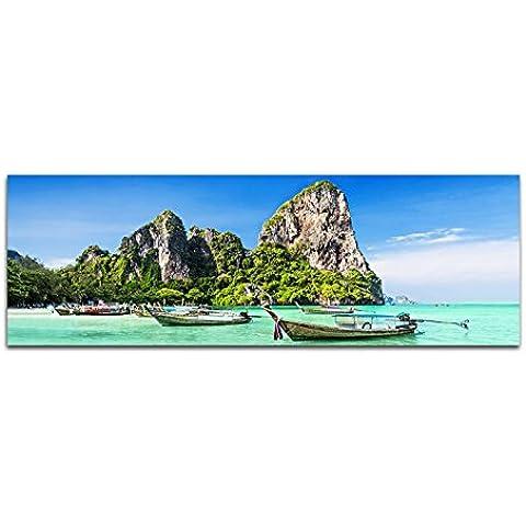 Imágenes cuadro–Impresión (120x 40cm Tailandia Mar Playa Rocas Barcos