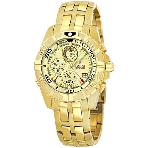 Festina Chronobike F16119/4 - Reloj cronógrafo de cuarzo para hombre, correa de acero inoxidable color dorado