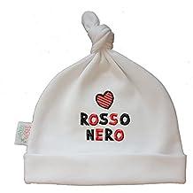 Zigozago - Cappellino Cuffia con Nodo Cuore Rosso Nero - Taglia 0-6 Mesi a4e218e1f5b0