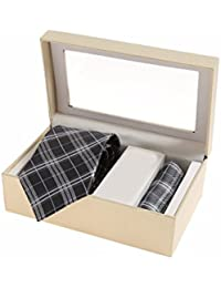 Sir Michele Designer Grey Micro Silk Tie and Pocketsquare Set for Men (Pack of 2)