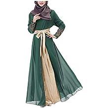 MERICAL Moda Casual Mujer Vestido Largo Maxi Vestido de Dubai Patchwork Islam Abaya Muslim Cóctel Ropa