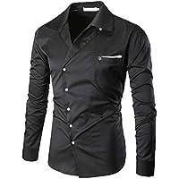 Mr.BaoLong&Miss.GO Nuevos Hombres Camisa De Color Sólido Decoración De Bolsillo Camisa Delgada De Manga Larga Camisa Delgada De Gran Tamaño