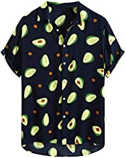 Slagon Men's Funny Avocado Printed T-shirt Popular lapel Hawaii Tee Short Sleeve Casual Shirts Creative Fr