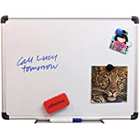 Cathedral Products Cathedral Whiteboard Dry wipe Magnetic with Pen Tray and Aluminium Trim H450xW600mm