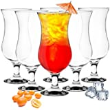 6 Stück Cocktailgläser 480ml 9 Varianten Hurricane Longdrinkgläser Bargläser (Klar)