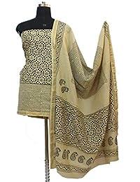 Gleamberry Womens Beige Block Print Maheshwari Chanderi Dress Material Set