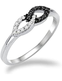 Miore - MF8016R - Bague Femme - Or blanc 750/1000 (18 carats) - Diamants blancs et noirs 0.16 cts