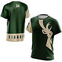0226afb36 Milwaukee Bucks  34 Camiseta de cuello redondo para hombre Baloncesto  Chaleco deportivo Traje de entrenamiento