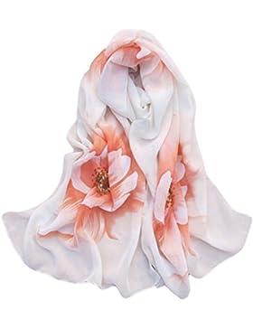Vovotrade Mujer Fino suave gasa de seda de la bufanda de la flor impreso bufandas del mantón del abrigo,160cmx50cm