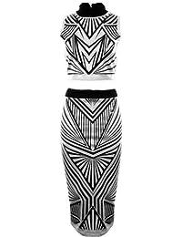 FANTASIA BOUTIQUE ® Ladies Ribbed Triangle Print Sleeveless Turtle Neck Top Midi Skirt Women's Set
