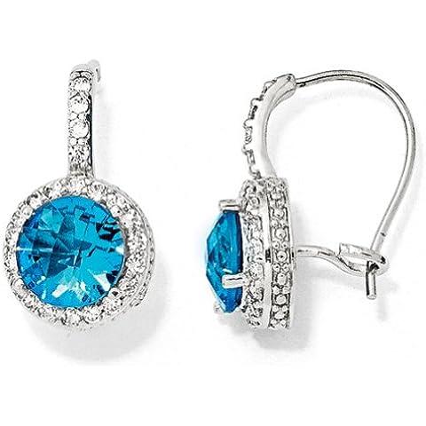 Icecarats Designer Di Gioielli Cheryl M Ss Checker-Tagliare Il Vetro Sim.Blue Topazio Cz Renali Orecchini Filo