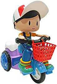 Popsugar Musical Bump and Go Stunt Tricycle with Rotation and Flashing Lights Toys for Boys and Girls, Purple