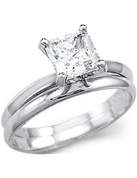 Sólido 14 K oro blanco Princess, compromiso, boda Set CZ Zirconia cúbico anillo 1