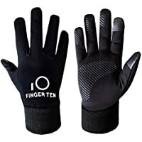 Winter Gloves Kids Warm Touchscreen Cycling 3M Pair, Boys Girls Grip Liners Thermal Running Gardening Gymnastics School Sports Outdoor, Windproof Lightweight Durable Anti-Slip Color Black
