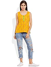 Very Me Women's Designer Yellow Pure Cotton Printed Short Top