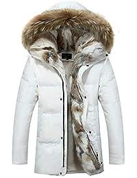 NIEYA Duck Down Jacket Hombres Invierno Cuello de Piel Gruesa Tallas Grandes Chaquetas con Capucha Abrigo