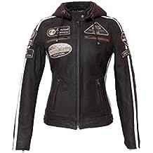 Urban Leather UR de 168Mujer Moto Chaqueta con protecciones, marrón, grandes: S