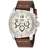 Fossil Modern Machine For Men Beige Dial Leather Band Watch FS4929