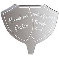 Personalizzata incisa scudo Specchio matrimonio o un anniversario Cake Topper