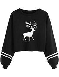 8c5adf7e2cb1 Ursing Kurzes Top mit Langen Ärmeln Damen Pullover Pullis Hemd Hirsch  Gedruckt Langarm Crewneck Sweatshirts Bluse Elegantes T-Shirt…