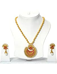Necklace Set Gold Plated Bridal With Moti Jhumki Earring For Women&Girls