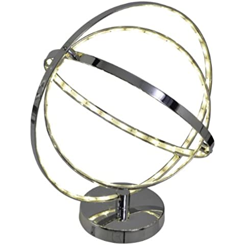 Naeve Leuchten–Lámpara LED de mesa/87x 0,08W/total 6,96W, incluye transformador 100–240V/50–60Hz, incluye bombilla, eficiencia energética clase A/39x 35x 31cm/Material Metal, Cromo 3100142