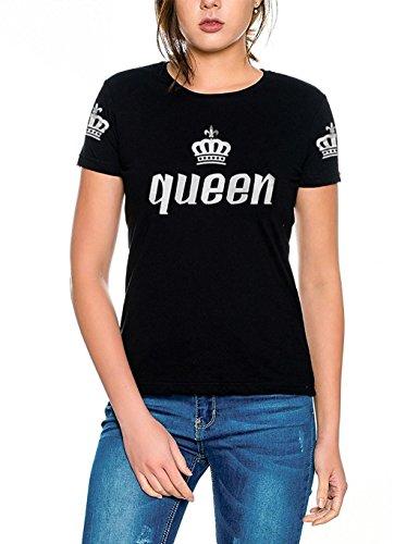 *Cooshional Couple shirt king queen kurzarm Baumwolle T-Shirt 1 Stück Tops für Liebepaar (Size S EU 34) FarbeSchwarz*