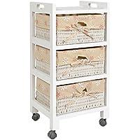 ts-ideen Cómoda estantería estante armario para rodar rollos ruedas en estilo de la alquería mesa de noche beige blanco con tres cestas en ratán