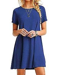 FEITONG Mujer Suelto Casual Cuello redondo Mangas cortas Volantes Mini vestido (Azul, L)