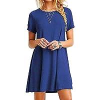 FEITONG Mujer Suelto Casual Cuello redondo Mangas cortas Volantes Mini vestido (Azul, XL) (Azul, XL)