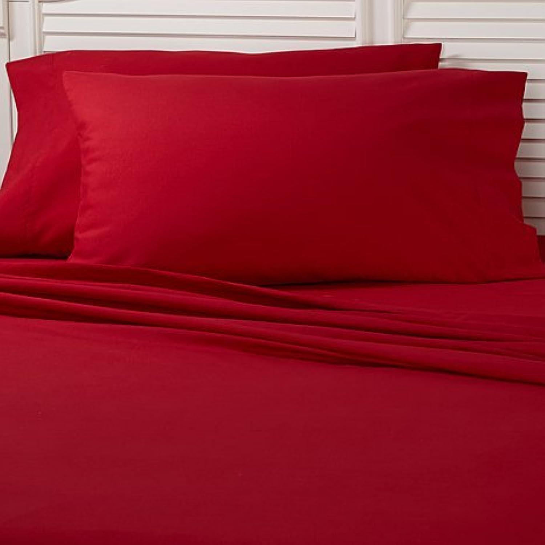 Dreamz Bedding- 400-thread-count Coton égyptien lit Parure de lit Unique 15 cm Profond Poche Unique lit Long, Burgundy, Couleur Rouge Solide, 400TC 100% Coton Set de Linge de lit a50a42