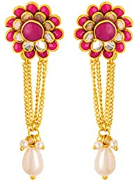 Voylla Drop Earrings for Women (Golden)(8907617410449)