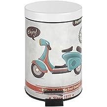 Wenko Vintage Scooter Cubo Con Pedal 3 L, Acero, Multicolor, 17x17x275 cm