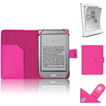 Xtra-Funky Exclusive PU Leather Book Wallet Style Case for Kobo GLO eReader Includes LCD Protector de pantalla Film - Rosa Caliente