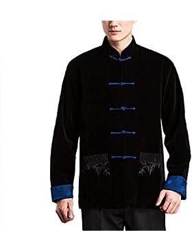 KIKIGOAL Chinoiserie Velours Mantel Tang-Anzug Jacke für Männer Chinesische Kleidung Flachs für Sommer und Herbst