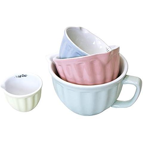 Just Contempo - Set di 4 tazze dosatrici, 16 x 12 cm, colore: verde, rosa, blu e giallo pastello, Ceramica, Pastel Green Blue Pink, 16 x 12 cm