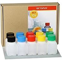 10 botellas de plástico de Octopus de 50 ml, botellas de plástico de HDPE con tapones de rosca de colores, botellas vacías con tapas de rosca de colores, botellas rectangulares con 10 etiquetas para marcar