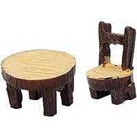 Demarkt Micro Landschaft Deko Miniatur Gartentabelle Deko Holz Tisch Stuhl Gartenmöbel für Puppenhaus Puppenhausmöbel Deko Garten