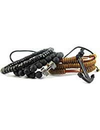 Streetsoul Wristband Bead Rustic Dumbbell Bead Black (Stack Of 5 pcs.) 8mm Multicolor Leather & Bead Bracelets For Men.
