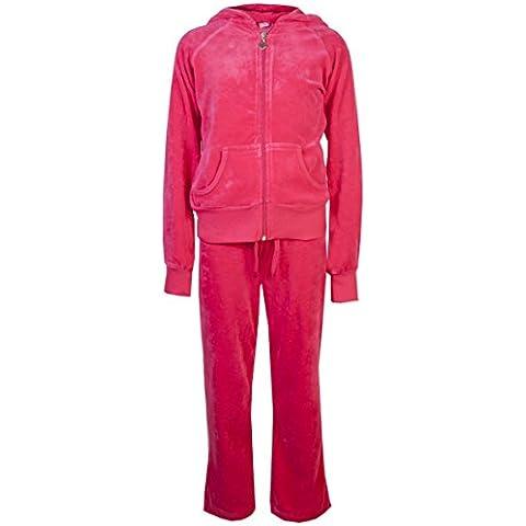 Tuta in velluto da bambina, pantalone e felpa