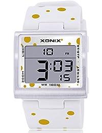 Reloj electrónico digital de múltiples funciones de los ni?os,Plaza jalea led 100 m resina resistente al agua alarma cronómetro hora dual chicas o chicos moda reloj de pulsera-H